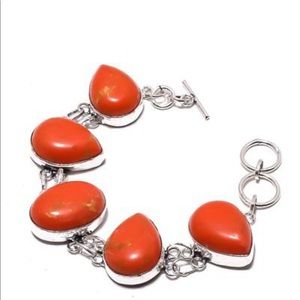 Red turquoise sterling silver bracelet